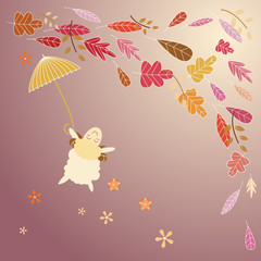 autumn leaves and little sheep