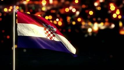 Croatia National Flag City Light Night Bokeh Loop Animation