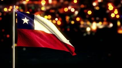 Chile National Flag City Light Night Bokeh Loop Animation