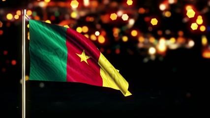 Cameroon National Flag City Light Night Bokeh Loop Animation