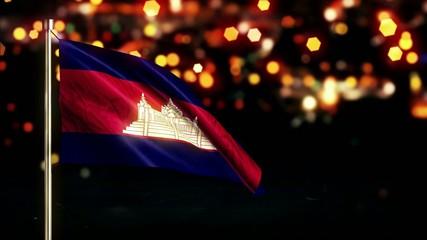 Cambodia National Flag City Light Night Bokeh Loop Animation