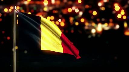 Belgium National Flag City Light Night Bokeh Loop Animation