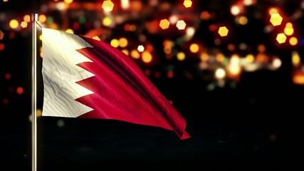 Bahrain National Flag City Light Night Bokeh Loop Animation