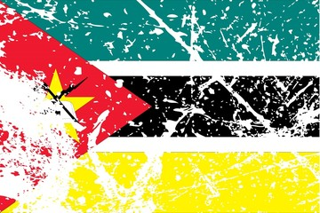 Illustration of a decayted flag of Mozambique
