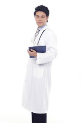 standing friendly young doctor isolated posing
