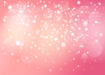 Red heart in the pink snow bokeh background. Vector EPS10.