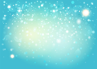 Blue snow bokeh background. Vector EPS10.