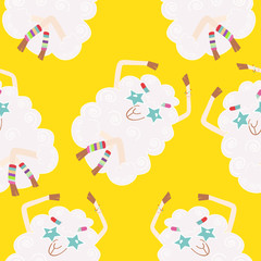 Seamless background with sheep hippies.