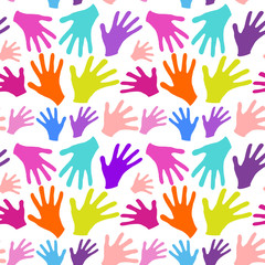 Seamless background multicolored hands with smiles isolated in w