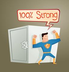 superhero guarding a deposit box and get a pose