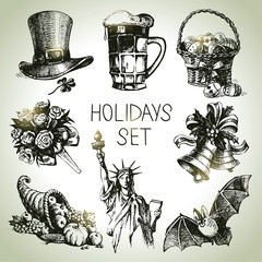 Hand drawn Holidays set