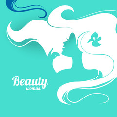 Beautiful fashion woman silhouette. Paper design