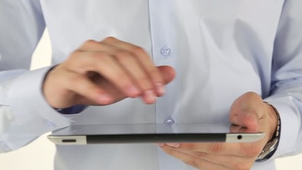 Hand to use a tablet