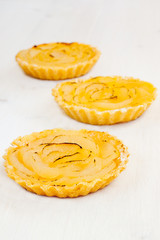 Homemade tarts with custard and boiled pear