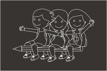 Niños volando en un lápiz líneas fondo oscuro
