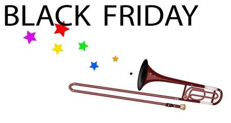 A Symphonic Trombone Blowing Black Friday Flag