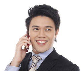 young smile businessman talking on mobile phone