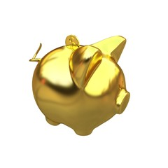 gold coin with with the gold piggy bank