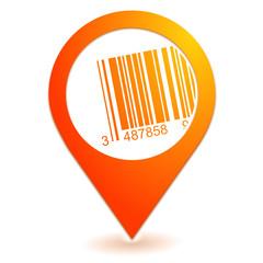 code barres sur symbole localisation orange