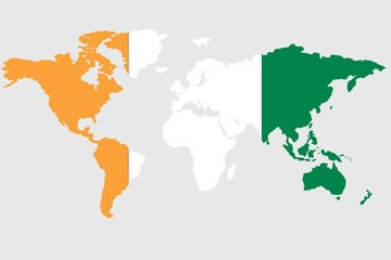 Illustration of the world with the flag of Cote Divoire