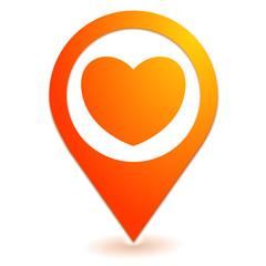 coup de coeur sur symbole localisation orange