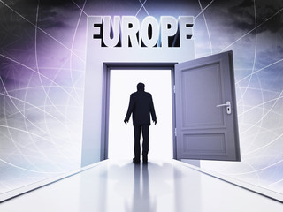 person going to visit Europe behind magic doorway background