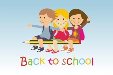 Niños volando en un lápiz back to school