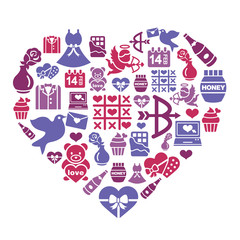 Valentines and Love Icons in Heart Shape