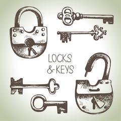 Hand drawn locks and keys set