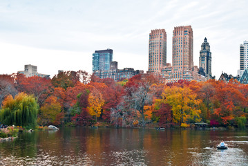 Cloudy autumn day at The Lake in Central Park, New York, New Yor