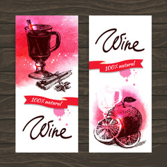 Banners of mulled wine vintage background.