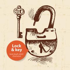 Hand drawn vintage lock and key banner