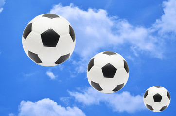 soccer balls on blue sky with cloud