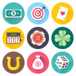 Luck symbols themed vector icon illustrations set.