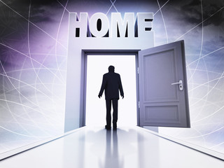 person going to home through magic doorway background