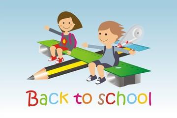 Avión y material escolar back to school