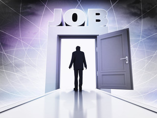 walking person to get job behind magic doorway background