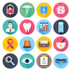 Health care and medical themed vector illustrations