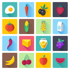 Fresh fruit and vegetables vector illustrations icons