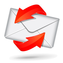 Vector white and red mail icon
