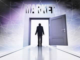 walking person to market through magic doorway background