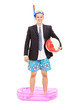Businessman with snorkel standing in a small pool