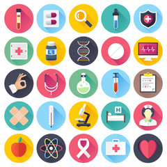 Health care and medicine illustrations icons set