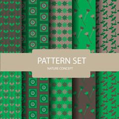 drak green and brown seamless pattern set