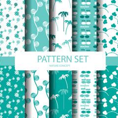 blue and white nature pattern set