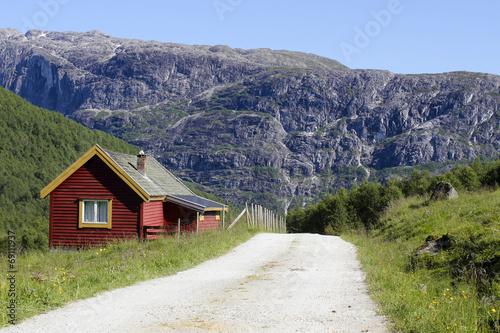 canvas print picture Berghütte Norwegen