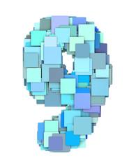 3d multiple blue tiled number nine 9 fragmented on white