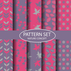 pure and pink nature pattern set