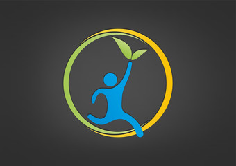 Natural Healthy life logo abstract fitness center