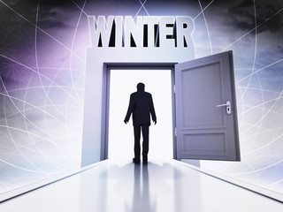 walking person to winter season through magic doorway background